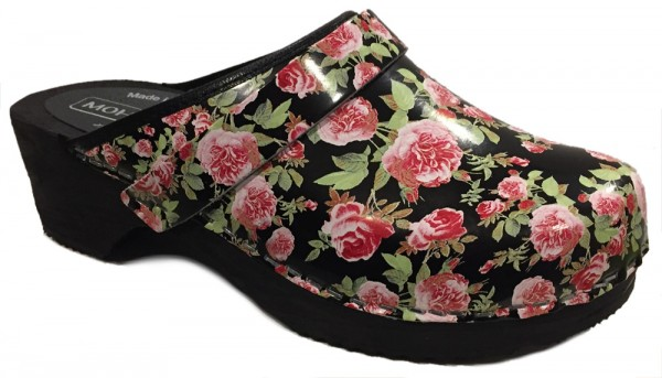 Moheda Toffeln 'Rosanna' Floral Clogs - Fancy Black